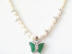Genuine Jade Butterfly & Freshwater Pearl Pendant Necklace