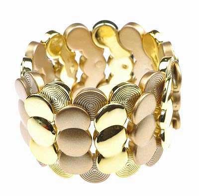 Trendy Gold Coin Link Stretch Bracelet