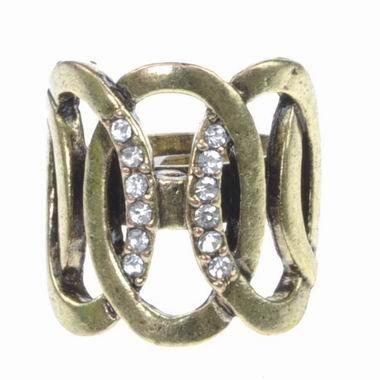Gold Bronze Link Crystal Ring