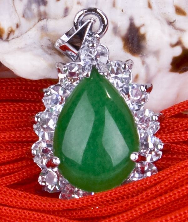 Silver Jade Crystal Pendant Necklace [style15]