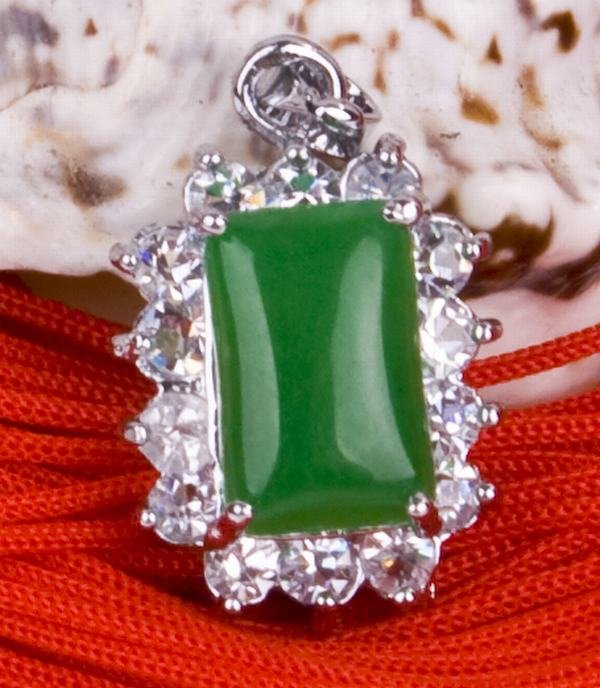 Silver Jade Crystal Pendant Necklace [style16]