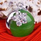 Silver Jade Crystal Moon Pendant Necklace