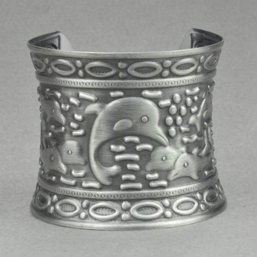 Antique Silver Dolphin Mermaid's Bangle Cuff Bracelet