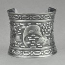 Antique Silver Dolphin Mermaid's Bangle Cuff Bracelet