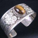 Antique Tibet Silver Tiger's Eye Cuff Bangle Bracelet