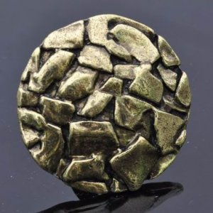Antique Gold Bronze Round Conglomerate Cocktail Ring