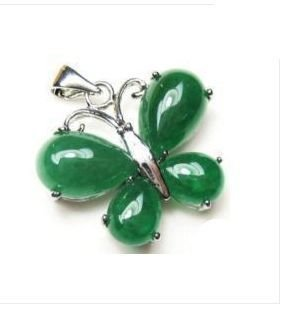 Silver Jade Butterfly Pendant Necklace