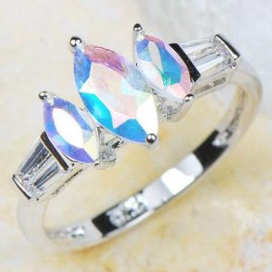 Genuine 18K White Gold Plated Mercury Mist Topaz Silver Ring