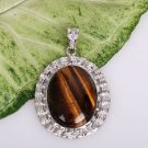 Silver Tiger's Eye Round Circle Pendant Necklace