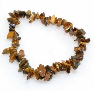 Genuine Tiger's Eye Gemstone Chips Tribal Bracelet