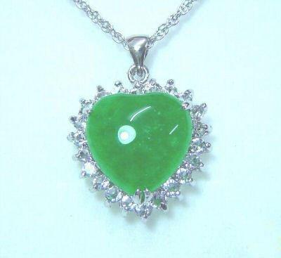 Genuine Jade Crystal Heart Pendant Necklace