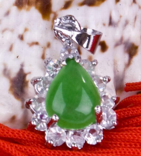 Silver Jade Crystal Teardrop Pendant Necklace