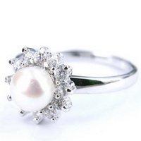 14K White Gold Freshwater Pearl Crystal Ring