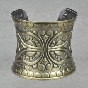 Antique Bronze Greco-Roman Style Cross Cuff Bangle Bracelet