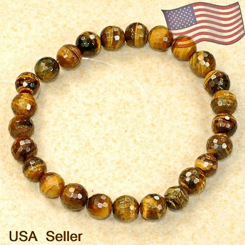 """Natural Tigers Eye Faceted Loose Beads 8mm 7 2/3"""""""