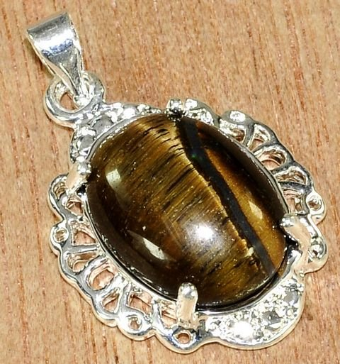 Silver Tiger's Eye Pendant Necklace [style3]