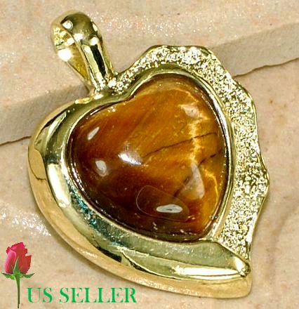 18K Gold Tiger's Eye Heart Pendant Necklace