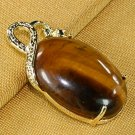18K Gold Tiger's Eye Pendant Necklace