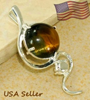 Silver Tiger's Eye Pendant Necklace [style6]