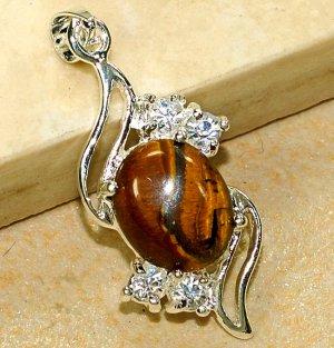 Genuine Tiger's Eye Cubic Zirconia Crystal Pendant Necklace