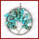 Turquoise Blue Howlite Tree Form Wire Wrap Pendant Necklace