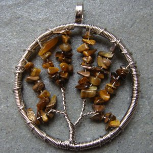 Tiger's Eye Tree Form Wire Wrap Pendant Necklace