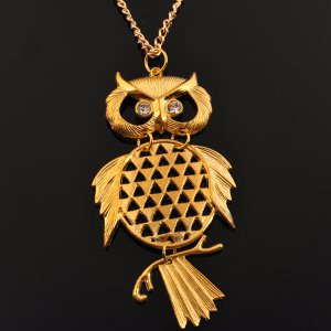 Trendy Gold Owl Pendant Necklace