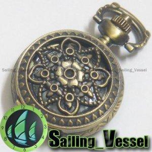 Antique Vintage Brass Quartz Pocket Watch Pendant Necklace