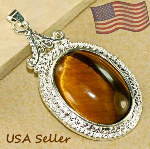 Silver Tiger's Eye Pendant Necklace [style4]