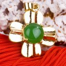 Gold Jade Four Leaf Clover Pendant Necklace