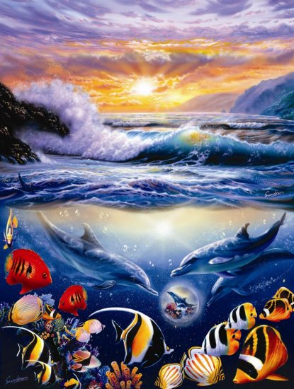 Blue Jewel Sunrise - 1,000 piece SunsOut puzzle - for Ages 12+