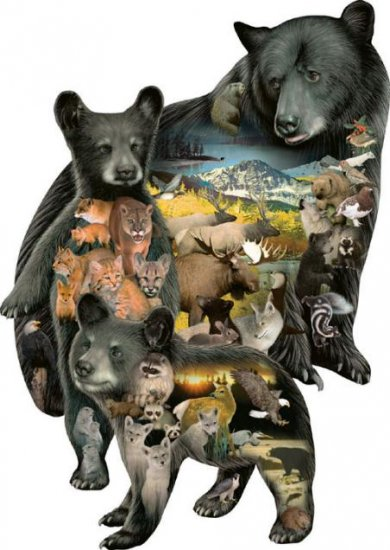 Bear-ly There - 1,000 piece Shaped SunsOut puzzle - for Ages 12+