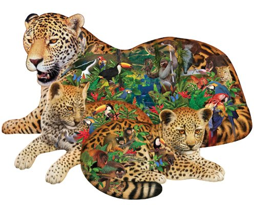 Rainforest Jaguar - 1,000 piece Shaped SunsOut puzzle - for Ages 12+