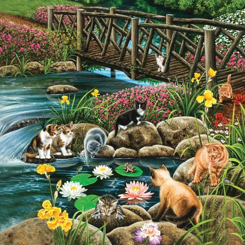 Cat Crossing - 1,000 piece SunsOut puzzle - for Ages 12+