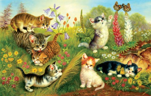 Cats In The Meadow - 1,000 piece SunsOut puzzle - for Ages 12+