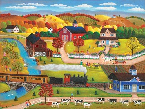 Country Autumn Train - 1,000 piece SunsOut puzzle - for Ages 12+
