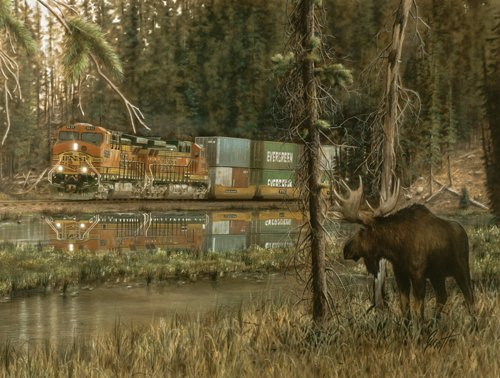 Double Take - Moose & Train - 500 piece SunsOut puzzle - for Ages 12+