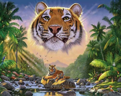 Majestic Tiger - 1,000 piece White Mountain puzzle - for Ages 12+