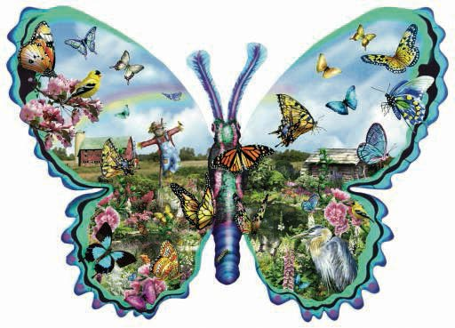Butterfly Farm - 1,000 piece Shaped SunsOut puzzle - for Ages 12+
