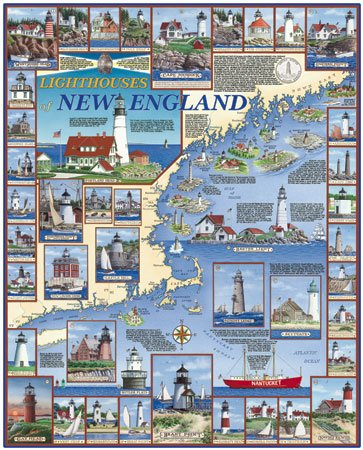 Lighthouses of New England  - 1,000 piece White Mountain puzzle - for Ages 12+