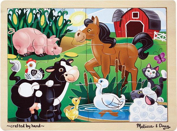 On The Farm - 12 piece wooden Melissa & Doug jigsaw puzzle - Ages 3+