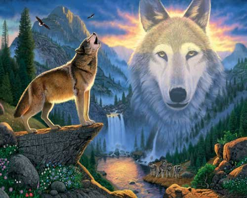 Mountain Wolf - 1,000 piece White Mountain puzzle - for Ages 12+