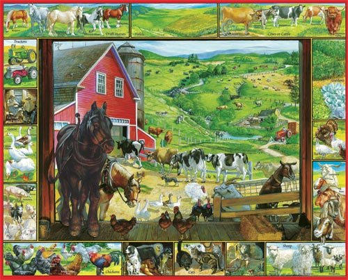 On The Farm  - 1,000 piece White Mountain puzzle - for Ages 12+