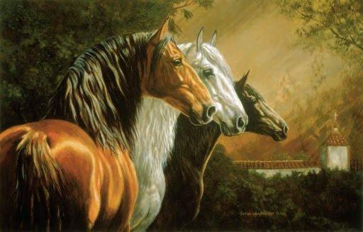 Los Tres - Horses - 1,000 piece SunsOut puzzle - for Ages 12+