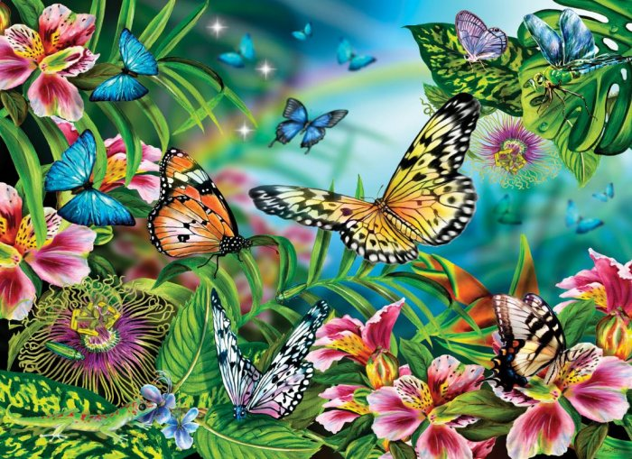 Over The Rainbow - Butterflies - 1,000 piece jigsaw puzzle