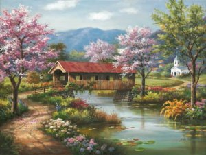 Covered Bridge in Spring - 300 piece SunsOut puzzle - for Ages 8+