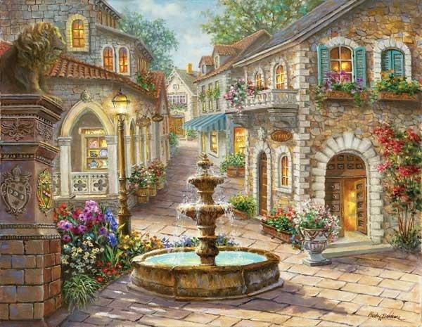 Cobblestone Fountain - 1,000 Large Piece SunsOut puzzle - for Ages 12+