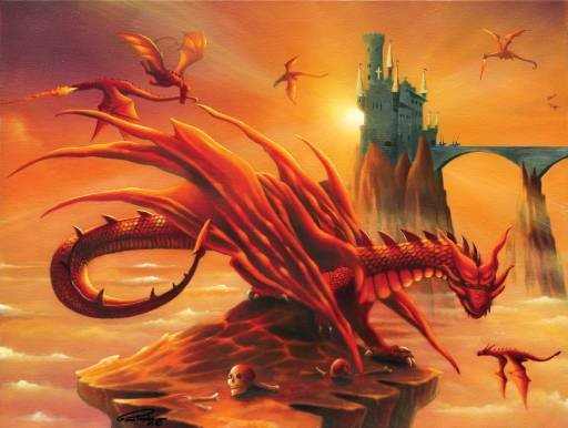 Battle at the Magic Hour - Dragons - 500 piece SunsOut puzzle - for Ages 12+