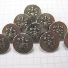 10 Small Silver Metal Coat of Arms Shank Buttons