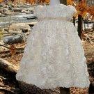 White Rosette Handmade Christening Baby Blessng Baptismal Gown Sz 0 Preemie